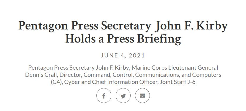 trascrizione del testo del DOD John F. Kirby